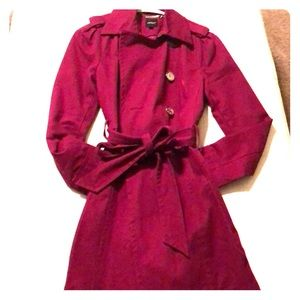 Berry colored trench coat